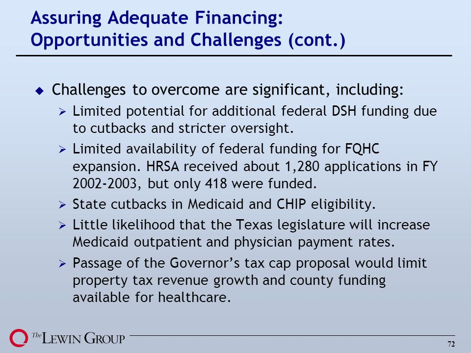 72 Assuring Adequate Financing: Opportunities and Challenges (cont.) u Challenges to overcome are significant, including: Limited potential for additional federal DSH funding due to cutbacks and stricter oversight.