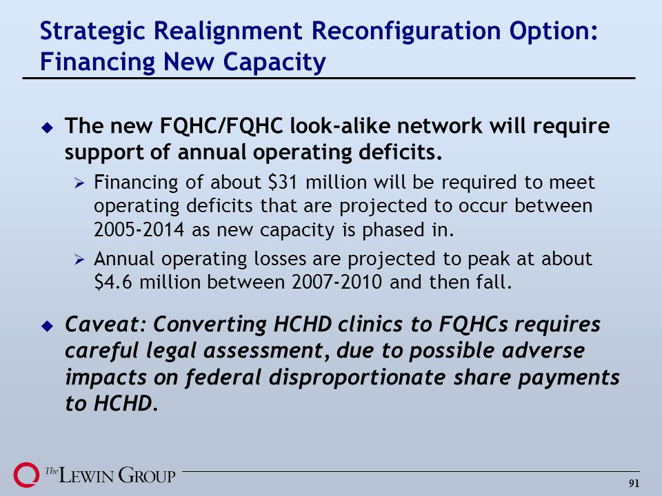 91 u The new FQHC/FQHC look-alike network will require support of annual operating deficits.