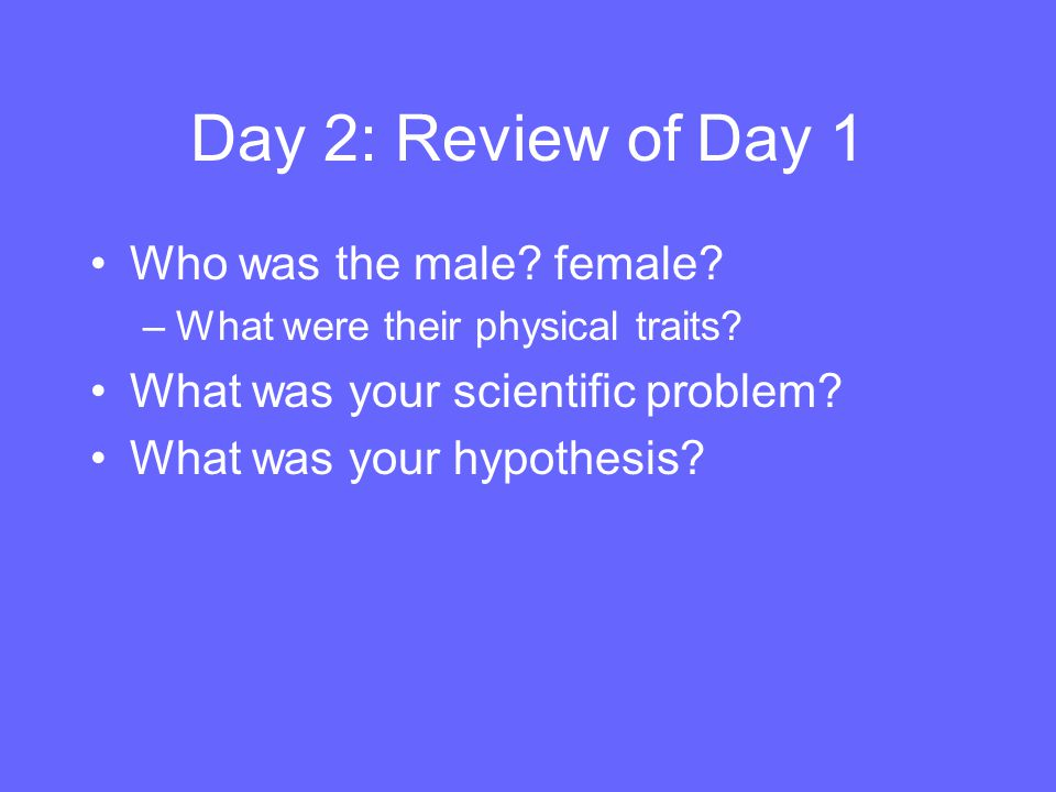 Day 2: Review of Day 1 Who was the male? female? –What were their physical traits? What was your scientific problem? What was your hypothesis?