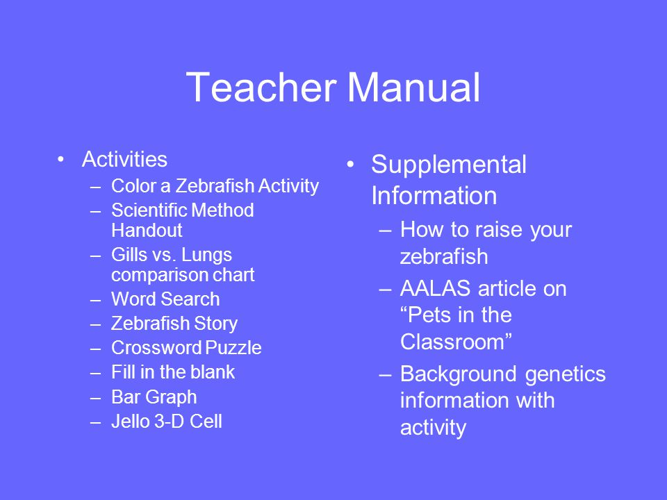Teacher Manual Activities –Color a Zebrafish Activity –Scientific Method Handout –Gills vs. Lungs comparison chart –Word Search –Zebrafish Story –Cros