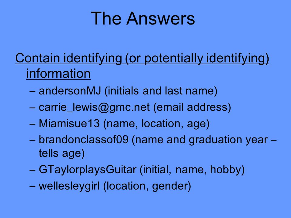 The Answers Contain identifying (or potentially identifying) information –andersonMJ (initials and last name) –carrie_lewis@gmc.net (email address) –Miamisue13 (name, location, age) –brandonclassof09 (name and graduation year – tells age) –GTaylorplaysGuitar (initial, name, hobby) –wellesleygirl (location, gender)