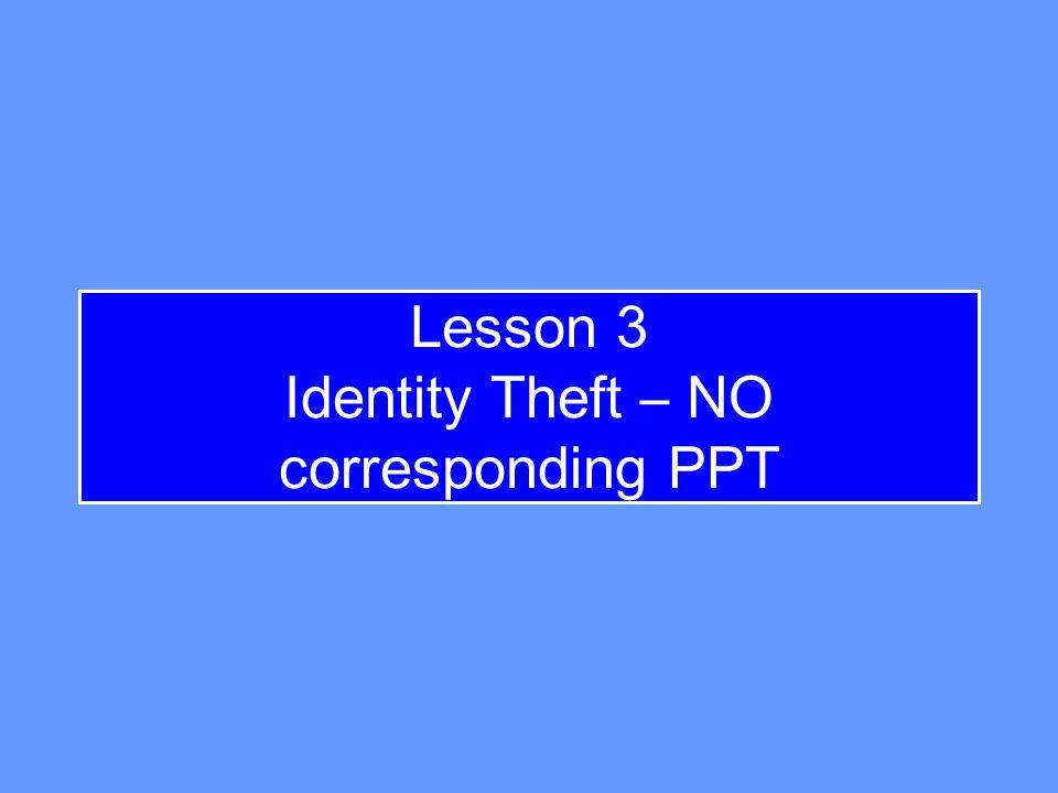 Lesson 3 Identity Theft – NO corresponding PPT