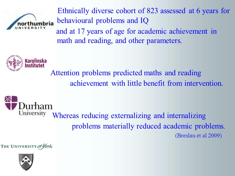 Ethnically diverse cohort of 823 assessed at 6 years for behavioural problems and IQ and at 17 years of age for academic achievement in math and reading, and other parameters.