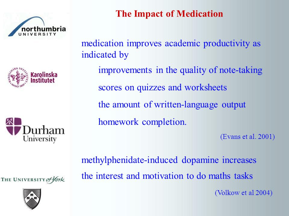 medication improves academic productivity as indicated by improvements in the quality of note-taking scores on quizzes and worksheets the amount of wr