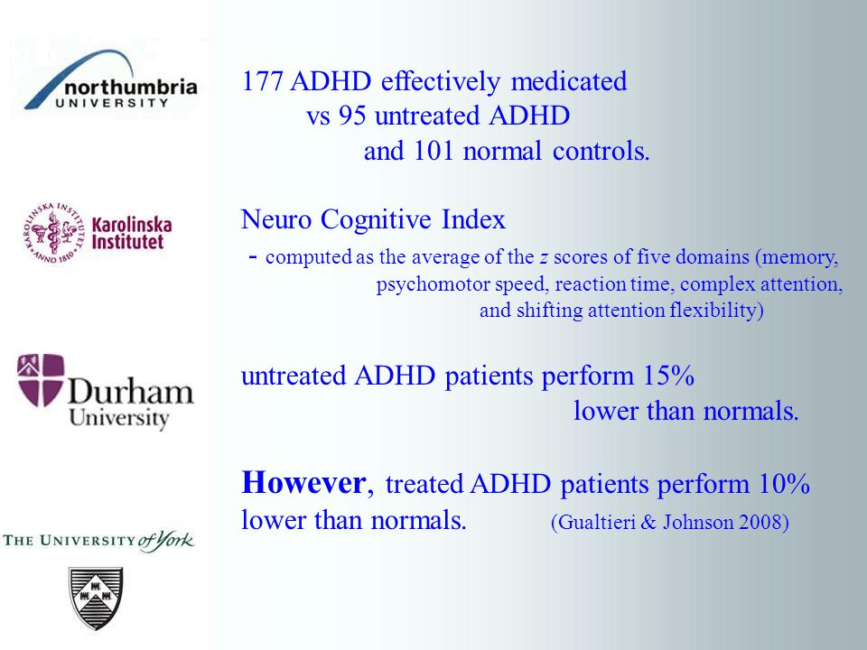 177 ADHD effectively medicated vs 95 untreated ADHD and 101 normal controls.