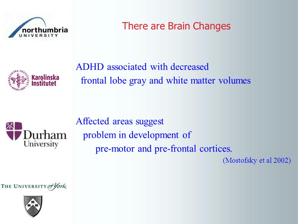 There are Brain Changes ADHD associated with decreased frontal lobe gray and white matter volumes Affected areas suggest problem in development of pre