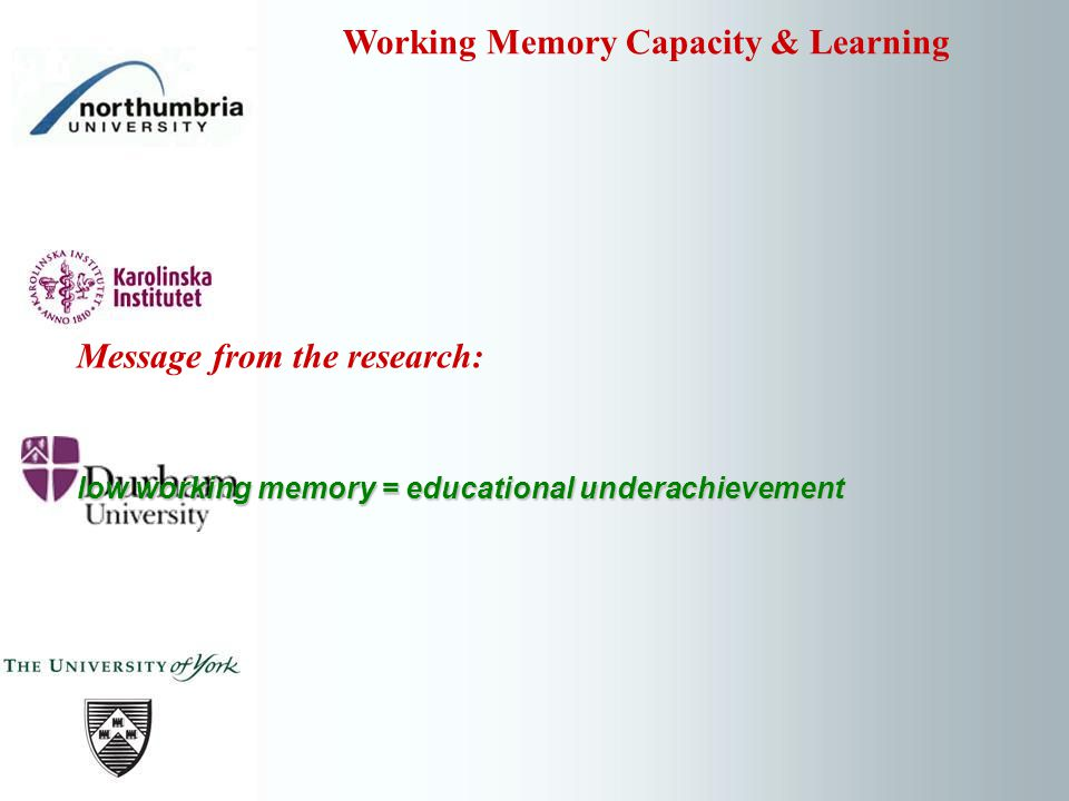 Message from the research: low working memory = educational underachievement Working Memory Capacity & Learning