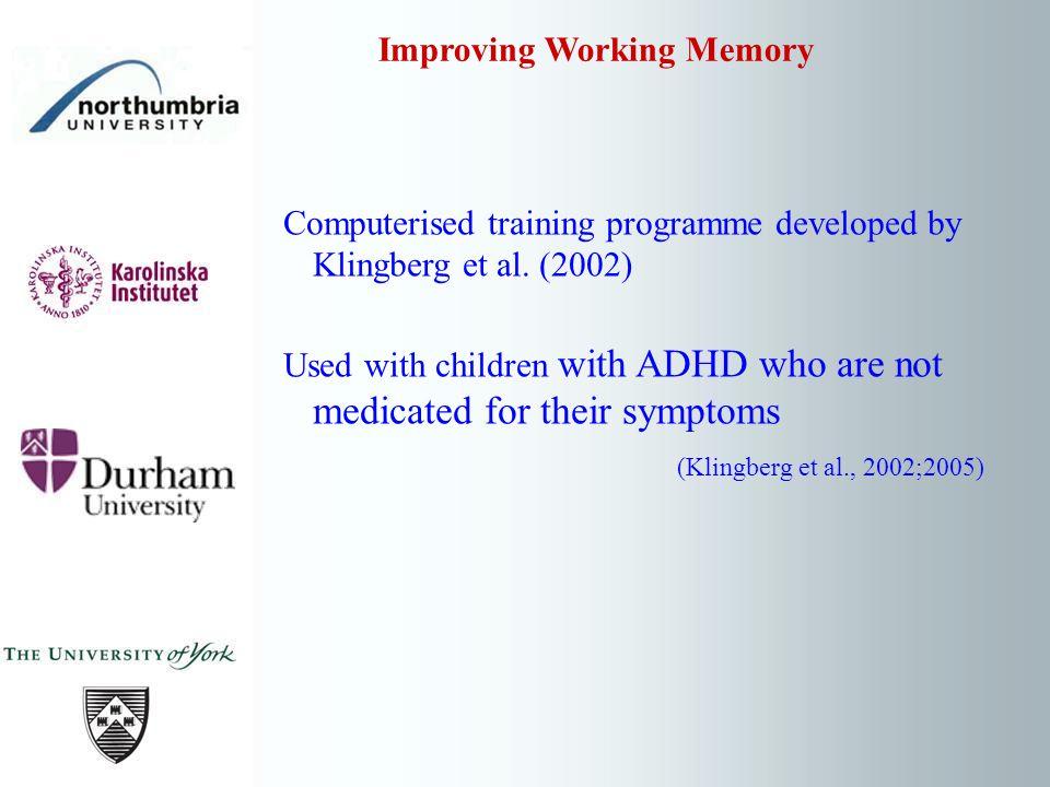 Computerised training programme developed by Klingberg et al.