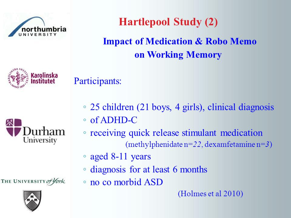 Impact of Medication & Robo Memo on Working Memory Participants: 25 children (21 boys, 4 girls), clinical diagnosis of ADHD-C receiving quick release