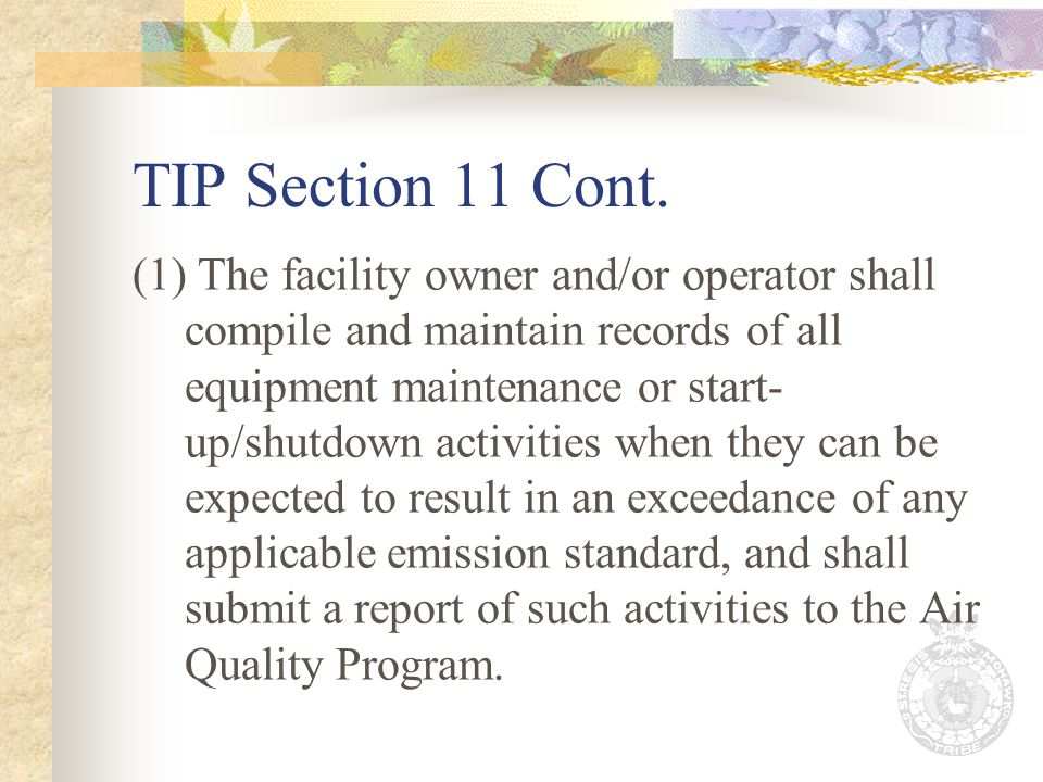 TIP Section 11 Cont.