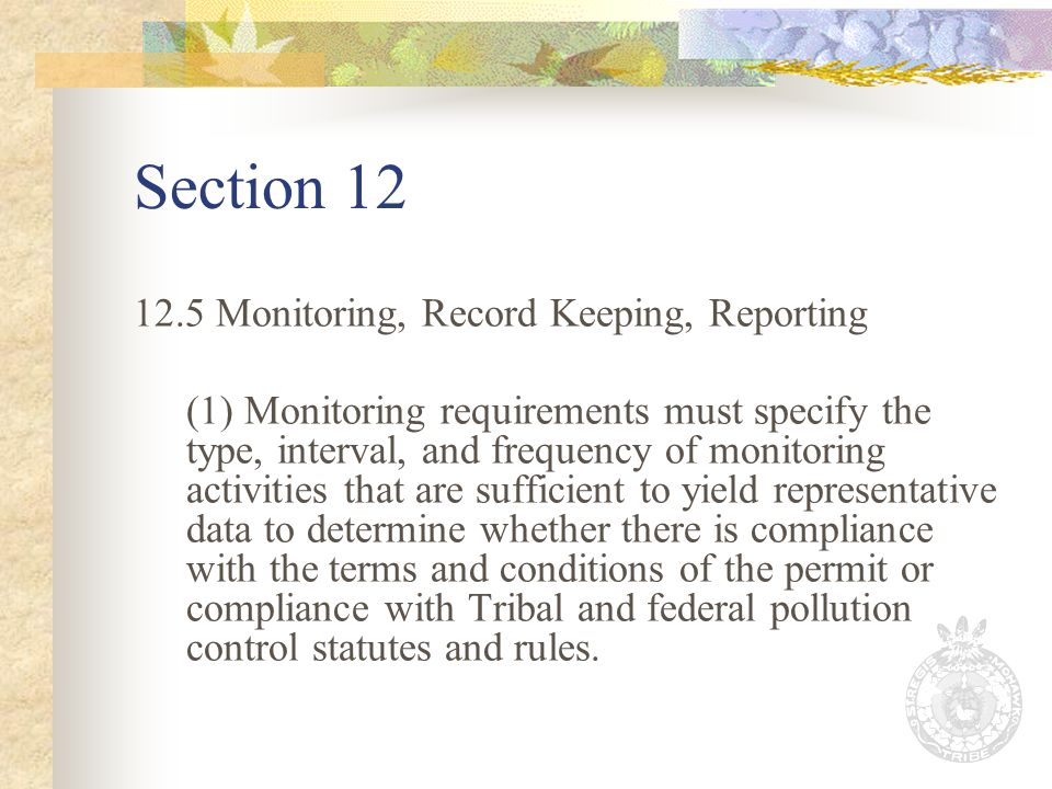 Section 12 12.5 Monitoring, Record Keeping, Reporting (1) Monitoring requirements must specify the type, interval, and frequency of monitoring activities that are sufficient to yield representative data to determine whether there is compliance with the terms and conditions of the permit or compliance with Tribal and federal pollution control statutes and rules.
