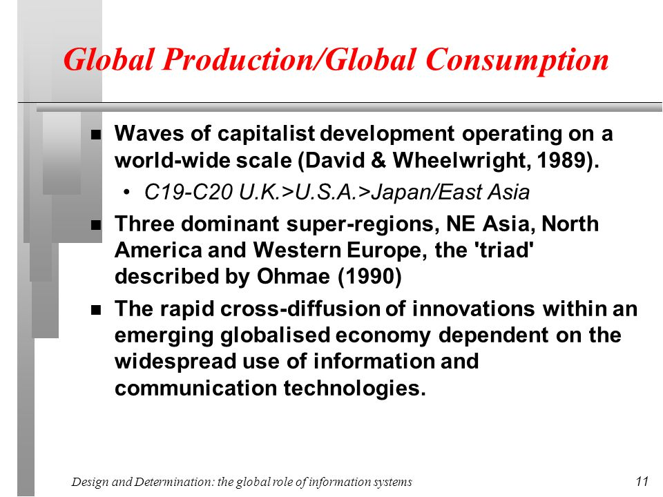 Design and Determination: the global role of information systems 11 Global Production/Global Consumption n Waves of capitalist development operating on a world-wide scale (David & Wheelwright, 1989).