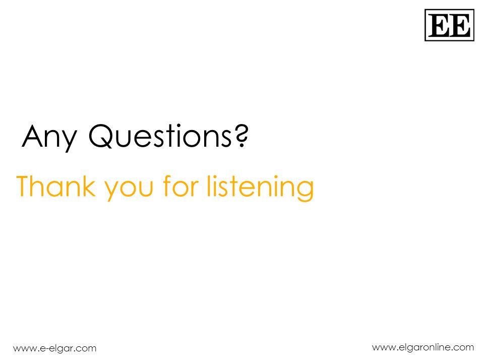 www.e-elgar.com www.elgaronline.com Thank you for listening Any Questions