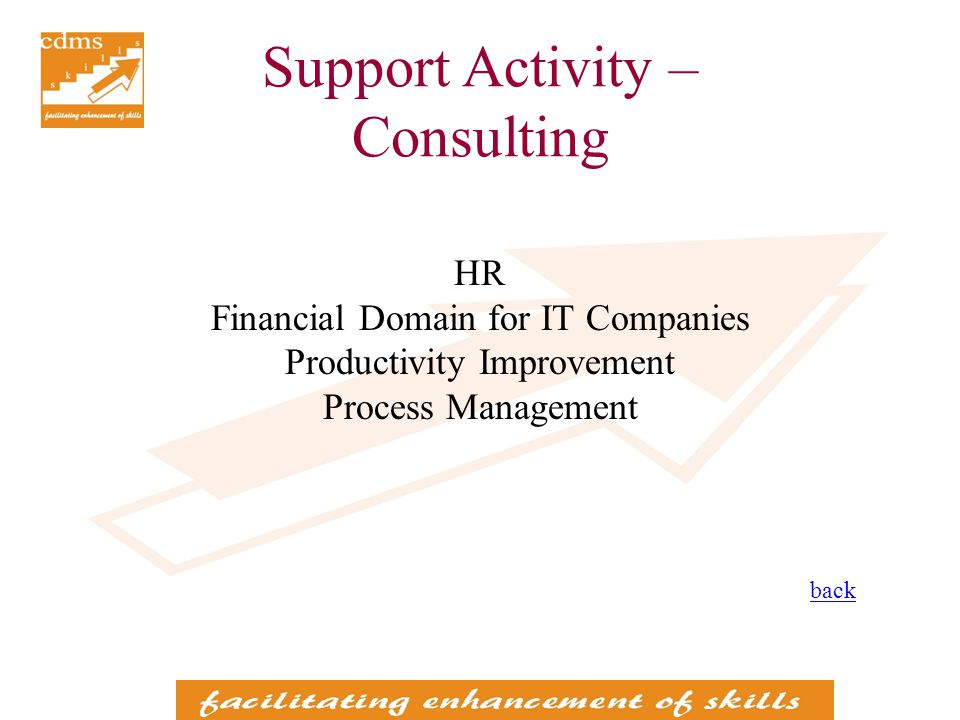 Support Activity – Consulting HR Financial Domain for IT Companies Productivity Improvement Process Management back