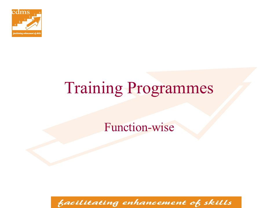 Training Programmes Function-wise