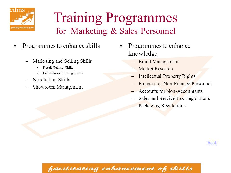 Training Programmes for Marketing & Sales Personnel Programmes to enhance skills –Marketing and Selling Skills Retail Selling Skills Institutional Selling Skills –Negotiation Skills –Showroom Management Programmes to enhance knowledge –Brand Management –Market Research –Intellectual Property Rights –Finance for Non-Finance Personnel –Accounts for Non-Accountants –Sales and Service Tax Regulations –Packaging Regulations back