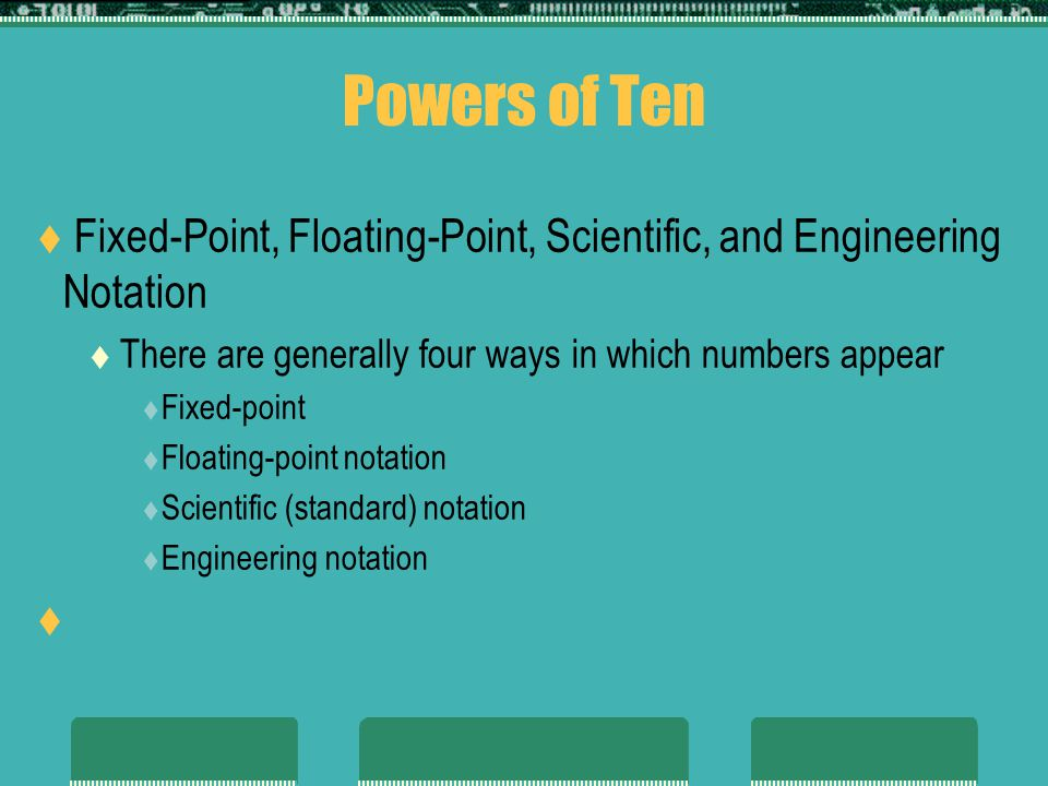 Powers of Ten Fixed-Point, Floating-Point, Scientific, and Engineering Notation There are generally four ways in which numbers appear Fixed-point Floating-point notation Scientific (standard) notation Engineering notation