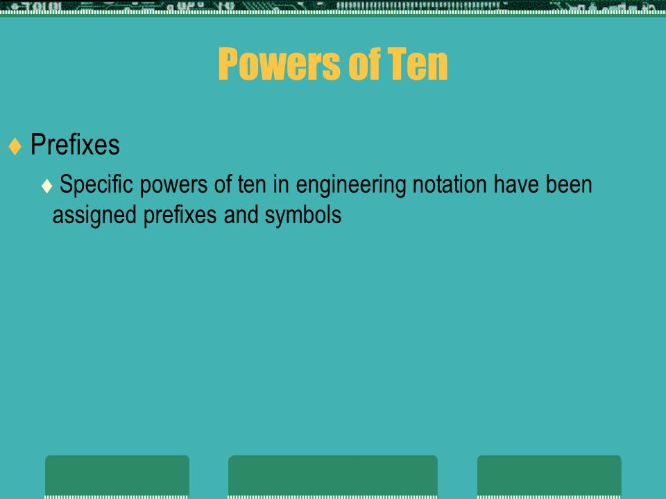Powers of Ten Prefixes Specific powers of ten in engineering notation have been assigned prefixes and symbols