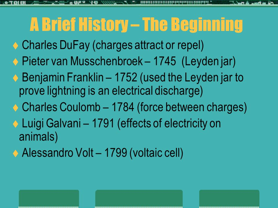 A Brief History – The Beginning Charles DuFay (charges attract or repel) Pieter van Musschenbroek – 1745 (Leyden jar) Benjamin Franklin – 1752 (used the Leyden jar to prove lightning is an electrical discharge) Charles Coulomb – 1784 (force between charges) Luigi Galvani – 1791 (effects of electricity on animals) Alessandro Volt – 1799 (voltaic cell)