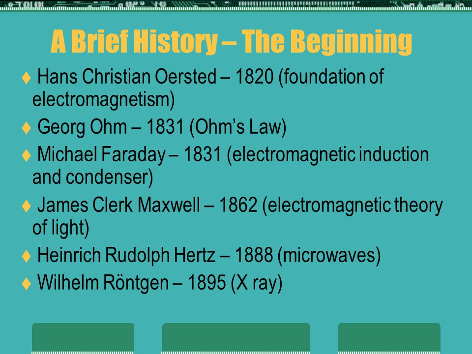 A Brief History – The Beginning Hans Christian Oersted – 1820 (foundation of electromagnetism) Georg Ohm – 1831 (Ohms Law) Michael Faraday – 1831 (electromagnetic induction and condenser) James Clerk Maxwell – 1862 (electromagnetic theory of light) Heinrich Rudolph Hertz – 1888 (microwaves) Wilhelm Röntgen – 1895 (X ray)