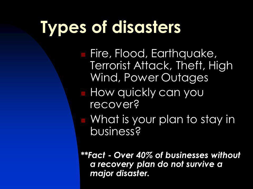 Types of disasters Fire, Flood, Earthquake, Terrorist Attack, Theft, High Wind, Power Outages How quickly can you recover.