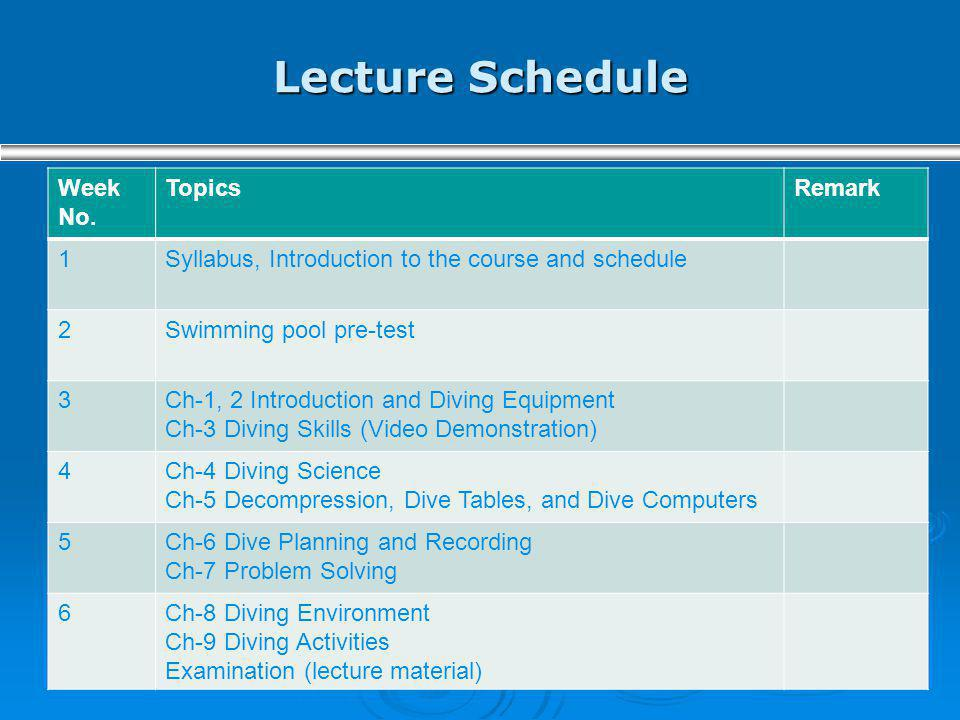 Lecture Schedule Week No. TopicsRemark 1Syllabus, Introduction to the course and schedule 2Swimming pool pre-test 3Ch-1, 2 Introduction and Diving Equ