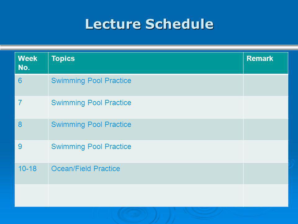 Lecture Schedule Week No. TopicsRemark 6Swimming Pool Practice 7 8 9 10-18Ocean/Field Practice
