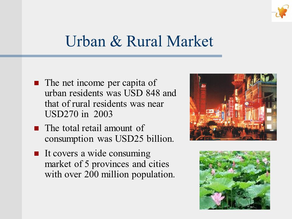 Urban & Rural Market The net income per capita of urban residents was USD 848 and that of rural residents was near USD270 in 2003 The total retail amount of consumption was USD25 billion.
