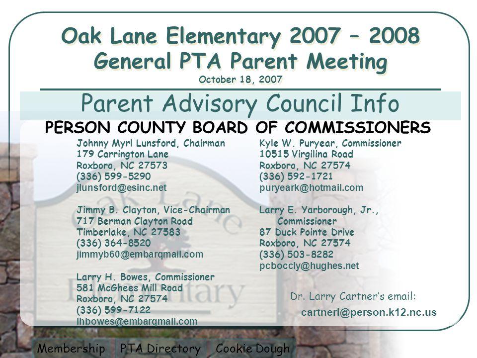 Johnny Myrl Lunsford, Chairman 179 Carrington Lane Roxboro, NC 27573 (336) 599-5290 jlunsford@esinc.net Jimmy B.