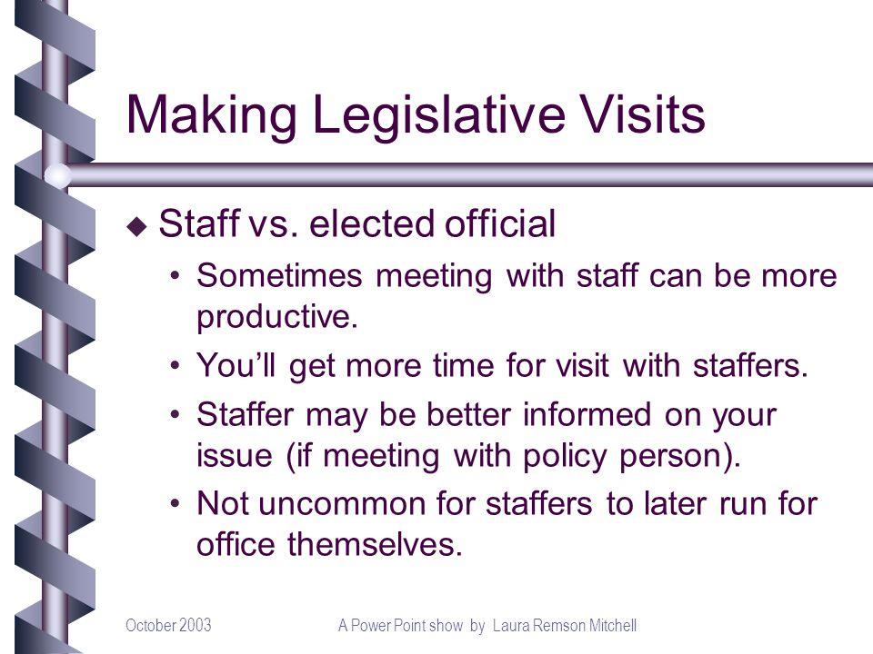 October 2003A Power Point show by Laura Remson Mitchell Making Legislative Visits u Staff vs.