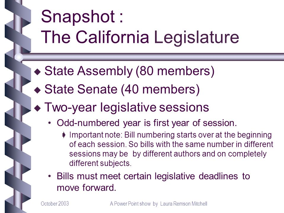 October 2003A Power Point show by Laura Remson Mitchell u State Assembly (80 members) u State Senate (40 members) u Two-year legislative sessions Odd-numbered year is first year of session.