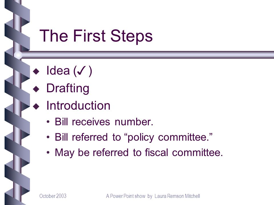 October 2003A Power Point show by Laura Remson Mitchell The First Steps Idea ( ) u Drafting u Introduction Bill receives number. Bill referred to poli