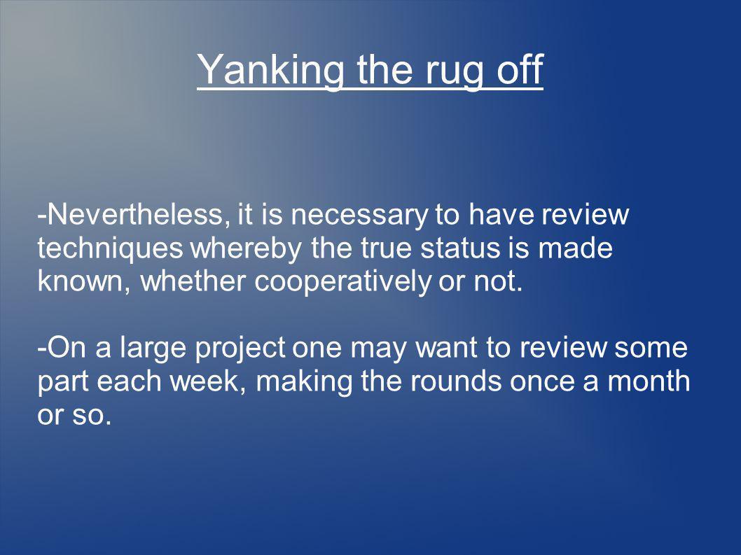 Yanking the rug off -Nevertheless, it is necessary to have review techniques whereby the true status is made known, whether cooperatively or not.
