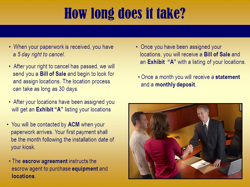 How long does it take? When your paperwork is received, you have a 5 day right to cancel. Once a month you will receive a statement and a monthly depo