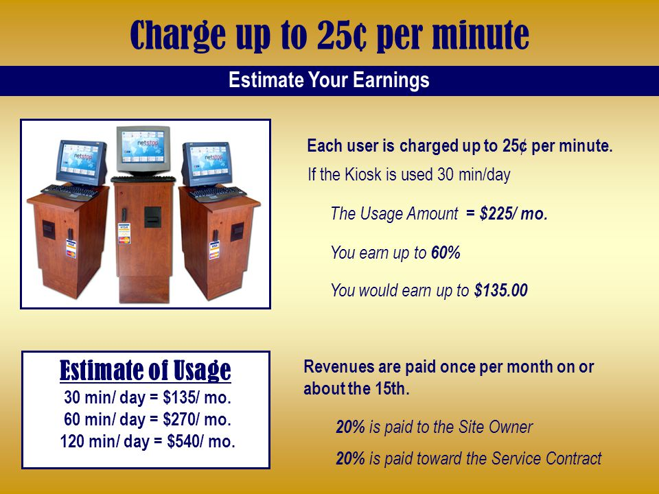 Charge up to 25¢ per minute Estimate of Usage 30 min/ day = $135/ mo.