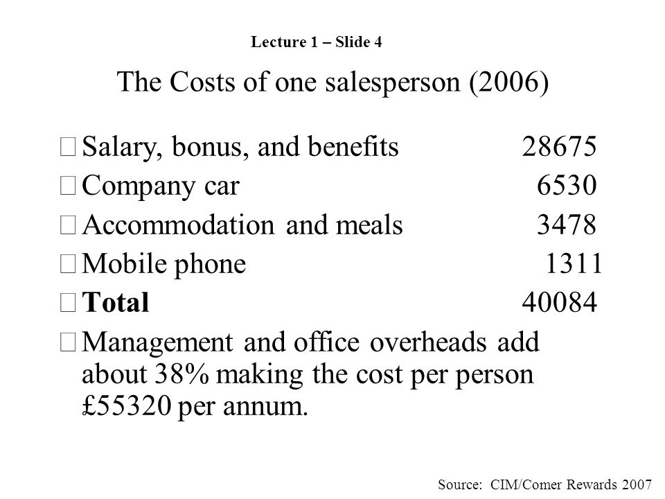 The Costs of one salesperson (2006) •Salary, bonus, and benefits28675 •Company car 6530 •Accommodation and meals 3478 •Mobile phone 1311 •Total 40084 •Management and office overheads add about 38% making the cost per person £55320 per annum.