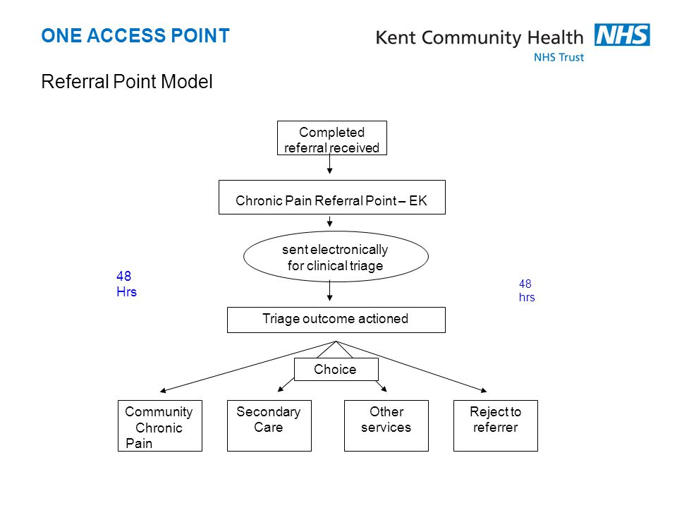 ONE ACCESS POINT Referral Point Model Completed referral received Chronic Pain Referral Point – EK Triage outcome actioned sent electronically for cli