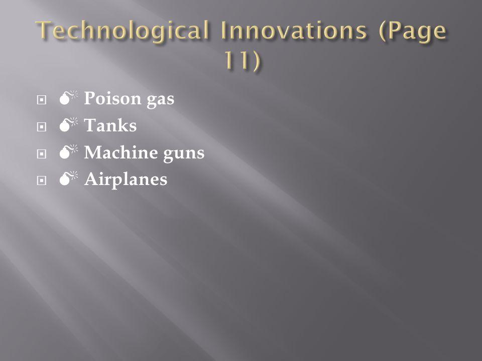 Poison gas Tanks Machine guns Airplanes