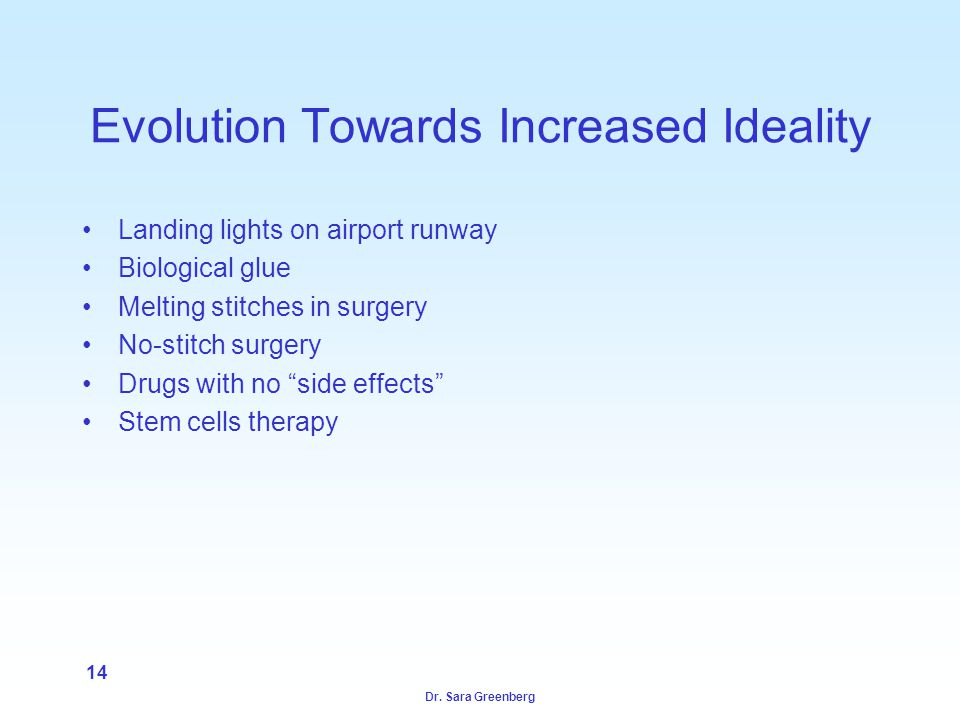 Dr. Sara Greenberg 14 Evolution Towards Increased Ideality Landing lights on airport runway Biological glue Melting stitches in surgery No-stitch surg