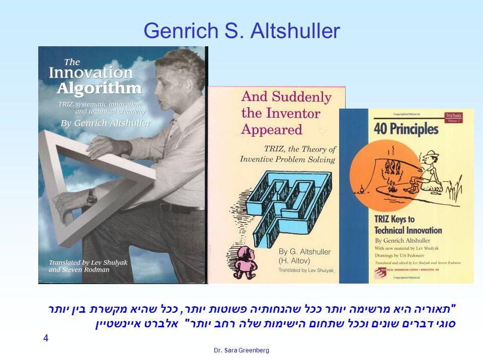 Dr. Sara Greenberg 4 Genrich S. Altshuller
