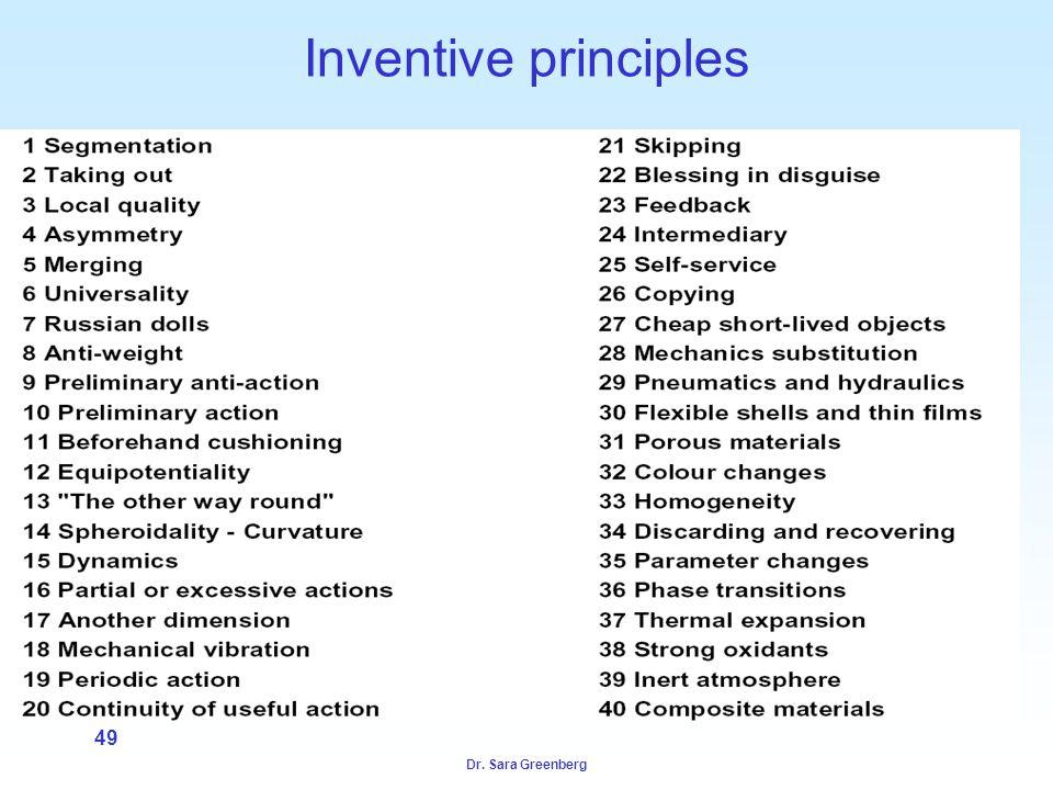 Dr. Sara Greenberg 49 Inventive principles