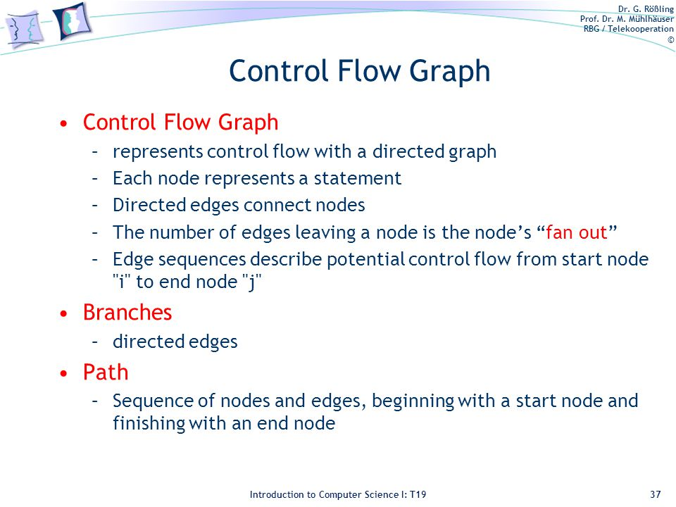 Dr. G. Rößling Prof. Dr. M. Mühlhäuser RBG / Telekooperation © Introduction to Computer Science I: T19 Control Flow Graph –represents control flow wit