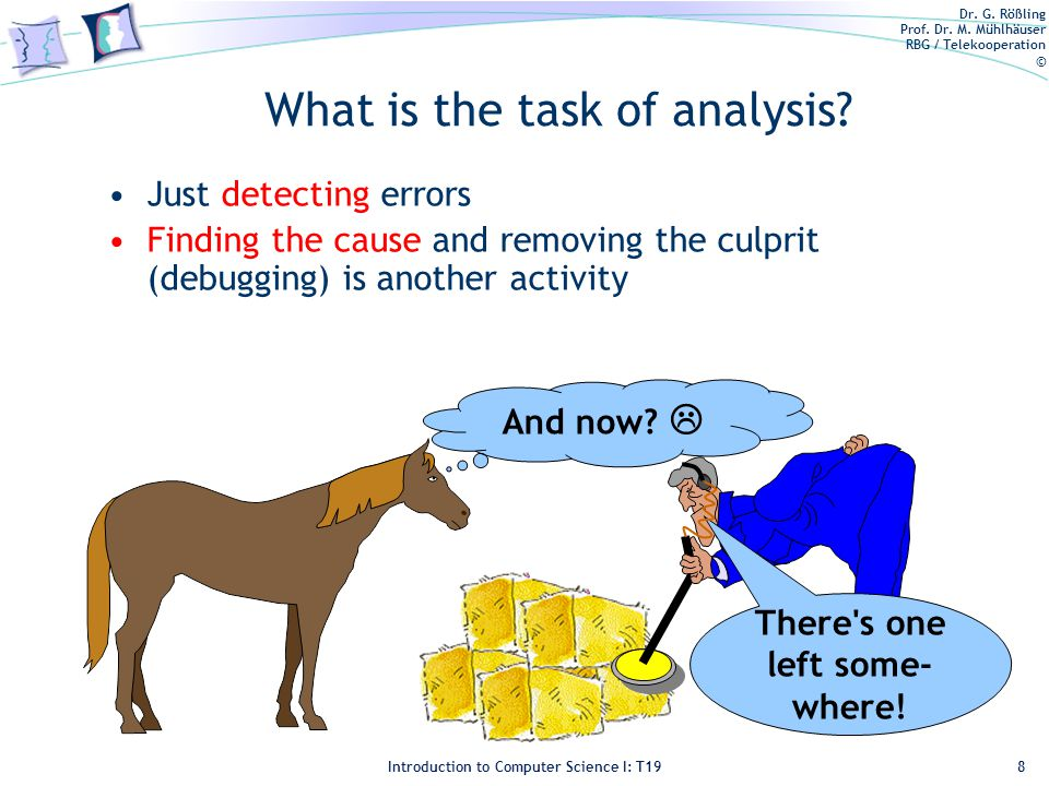 Dr. G. Rößling Prof. Dr. M. Mühlhäuser RBG / Telekooperation © Introduction to Computer Science I: T19 What is the task of analysis? Just detecting er