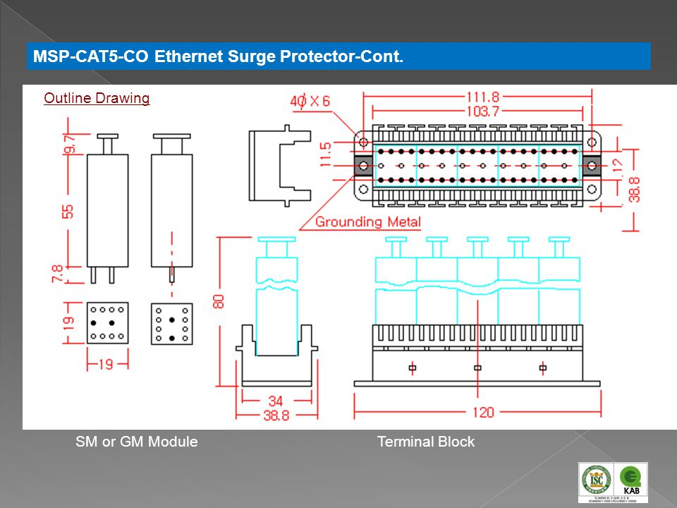 SM or GM ModuleTerminal Block Outline Drawing MSP-CAT5-CO Ethernet Surge Protector-Cont.