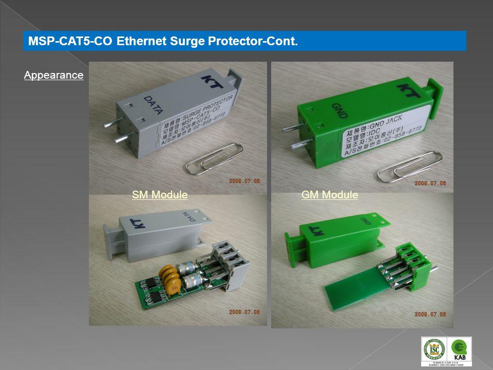 Appearance SM ModuleGM Module MSP-CAT5-CO Ethernet Surge Protector-Cont.
