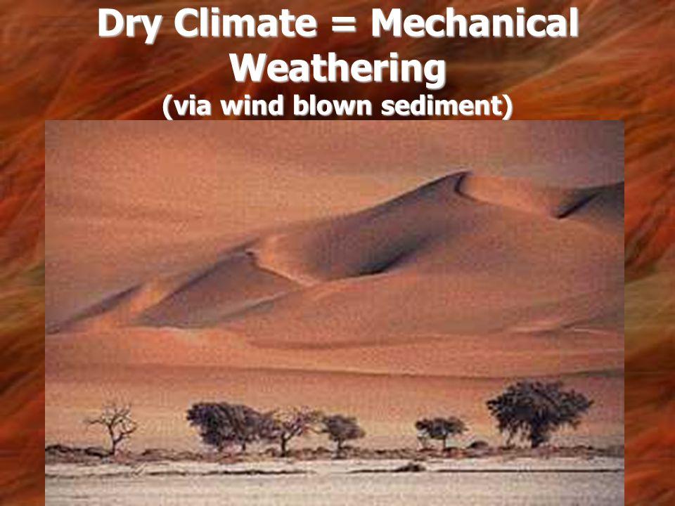 Dry Climate = Mechanical Weathering (via wind blown sediment)