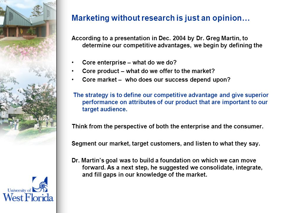 Marketing without research is just an opinion… According to a presentation in Dec.