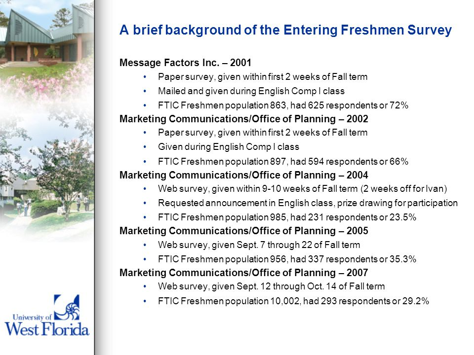 A brief background of the Entering Freshmen Survey Message Factors Inc. – 2001 Paper survey, given within first 2 weeks of Fall term Mailed and given