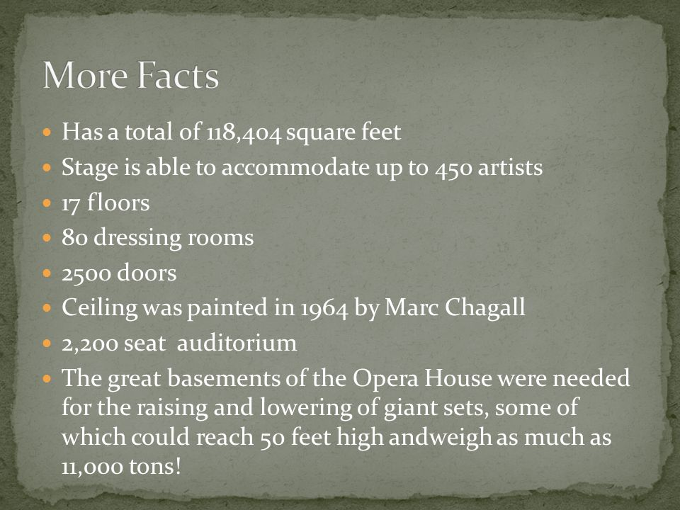 Has a total of 118,404 square feet Stage is able to accommodate up to 450 artists 17 floors 80 dressing rooms 2500 doors Ceiling was painted in 1964 by Marc Chagall 2,200 seat auditorium The great basements of the Opera House were needed for the raising and lowering of giant sets, some of which could reach 50 feet high andweigh as much as 11,000 tons!