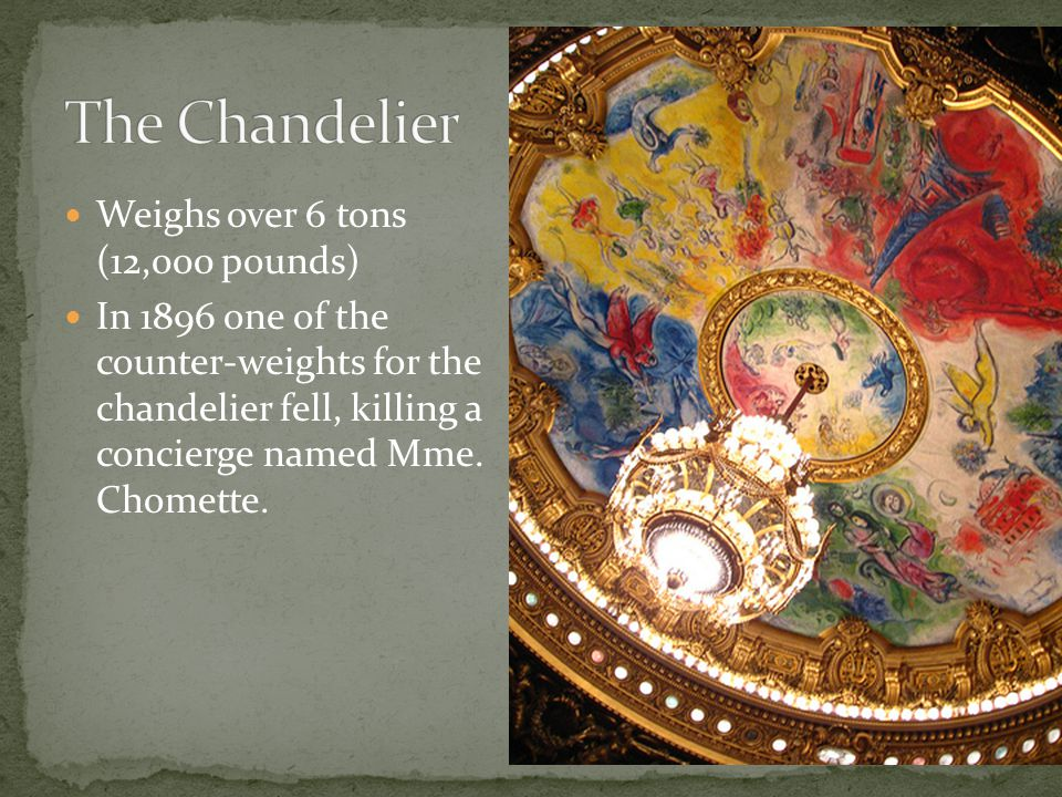 Weighs over 6 tons (12,000 pounds) In 1896 one of the counter-weights for the chandelier fell, killing a concierge named Mme.